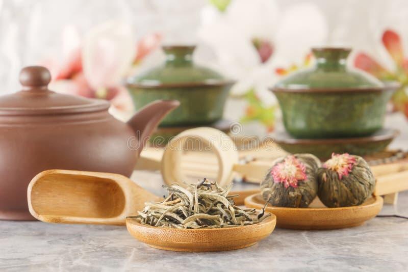 绿茶和属性茶道的-安置一个陶瓷茶壶、杯子、过滤器、筷子和镊子 图库摄影