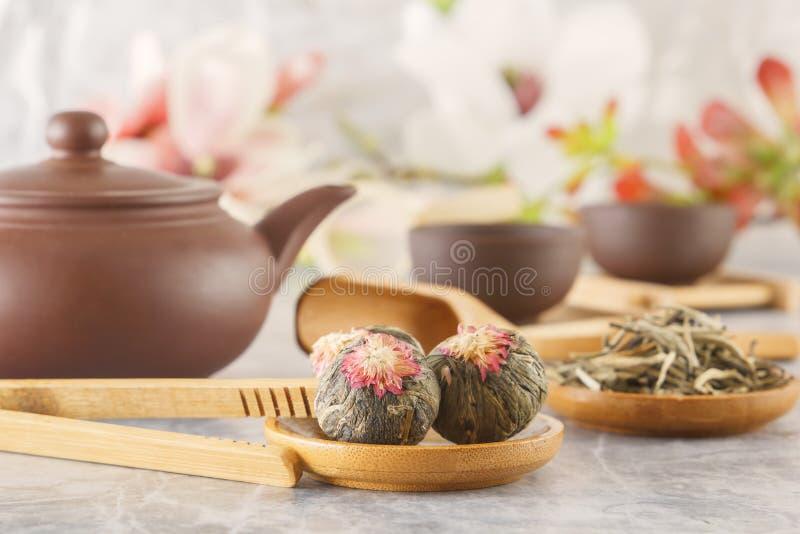 绿茶和属性茶道的-安置一个陶瓷茶壶、杯子、过滤器、筷子和镊子 免版税图库摄影