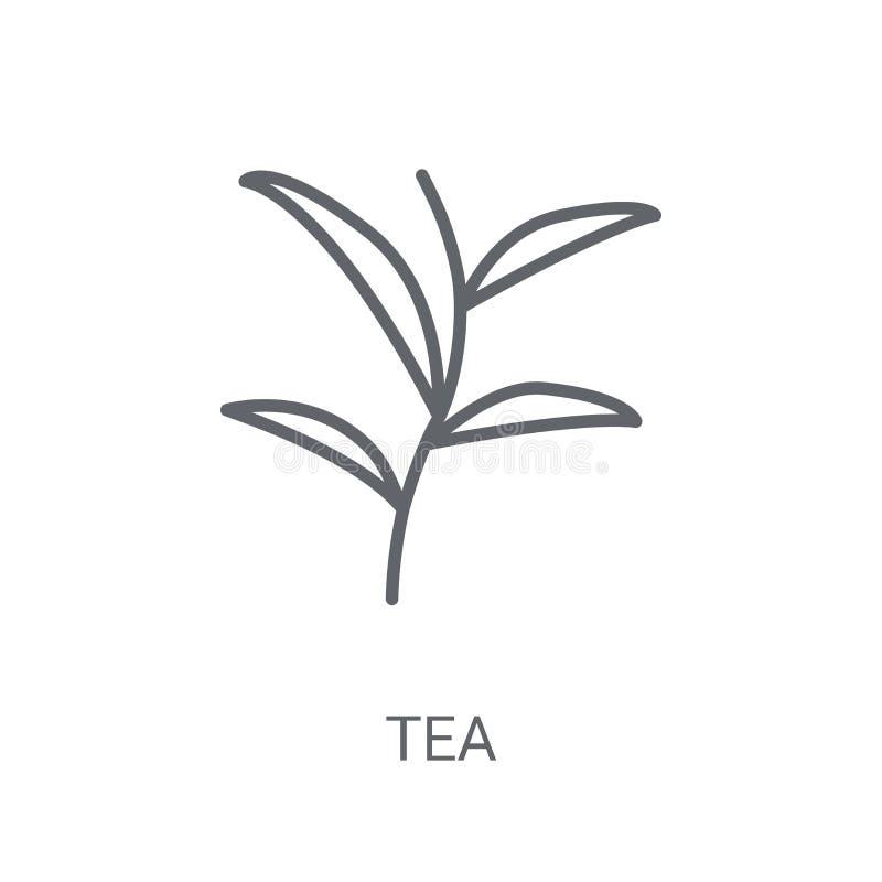绿茶象 在白色backgroun的时髦绿茶商标概念 库存例证