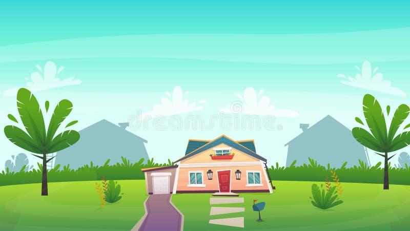 绿草前面车道的郊区房子与灌木篱芭 动画片样式的滑稽的peasful愉快的风景村庄房子 Ve 向量例证