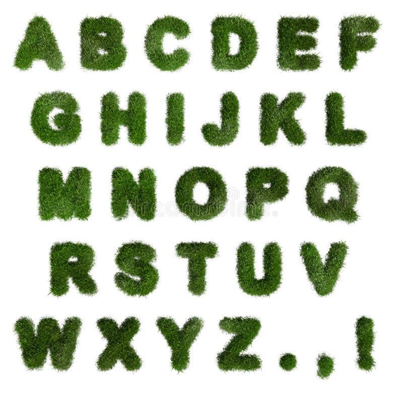 绿草字母 英语字母 字体 3d渲染 向量例证