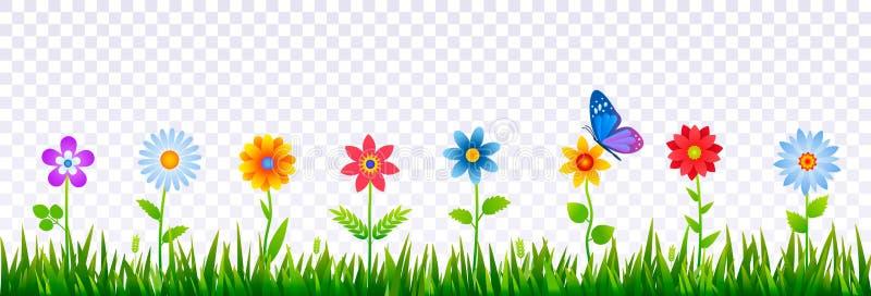 绿草明亮的边界与春天花的 装饰的复活节卡片,海报,横幅模板 现实传染媒介 向量例证