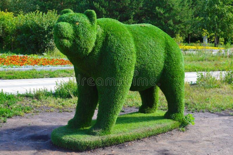 绿草熊形象  免版税图库摄影