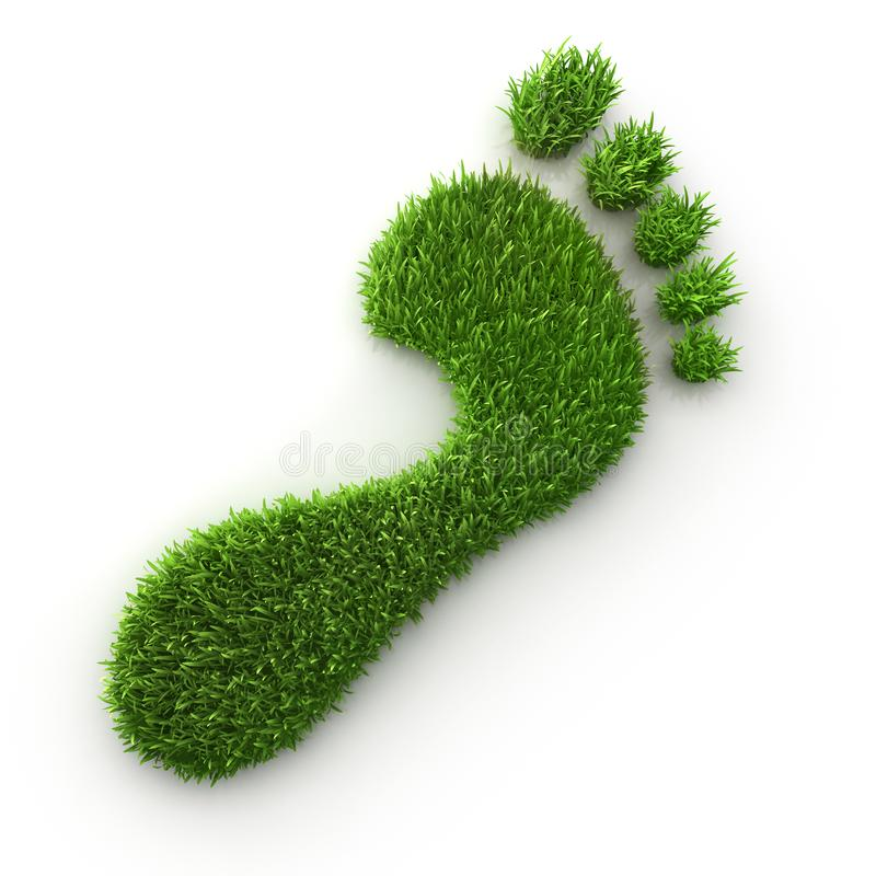 绿草脚印-生态3D例证 库存例证