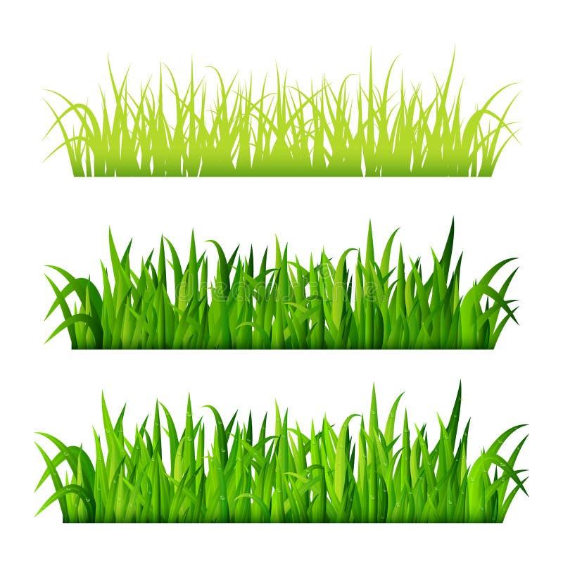 绿草边界在白色背景传染媒介设置了被隔绝 库存例证