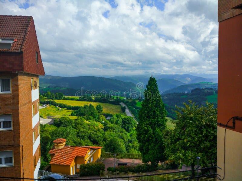 绿草领域的看法的蒂内奥,阿斯图里亚斯,西班牙 免版税库存照片