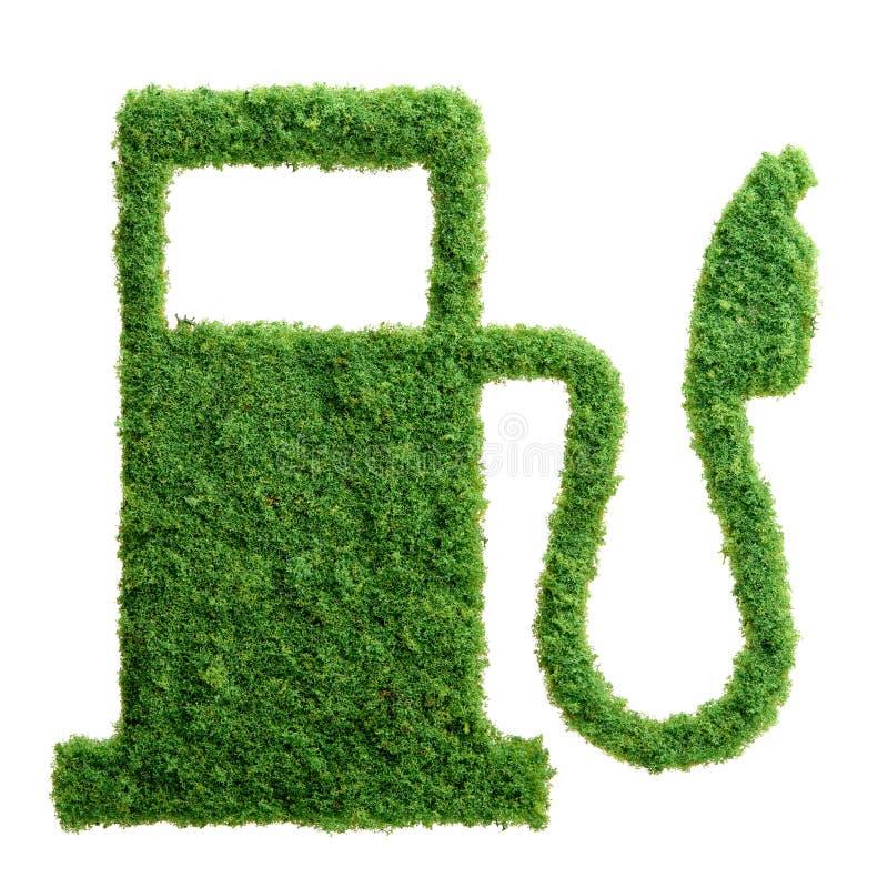 绿草eco被隔绝的加油站 库存例证