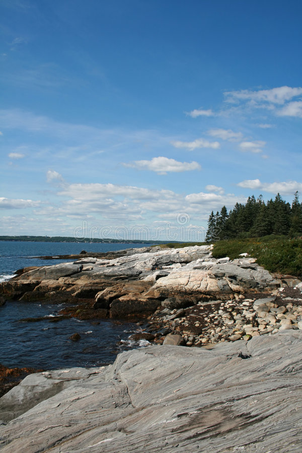 缅因岩石海岸线 库存图片