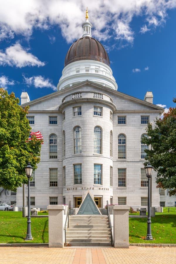 缅因州议院,在奥古斯塔,在一好日子 免版税库存照片