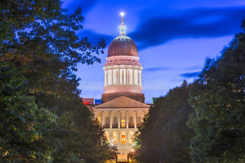 缅因状态议院在奥古斯塔,缅因,美国 免版税图库摄影