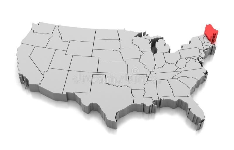 缅因状态,美国地图  皇族释放例证