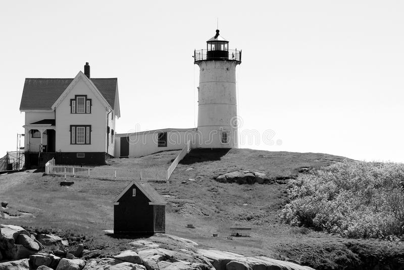缅因` s心爱的小节灯塔,约克的黑白图象, 2018年 库存照片