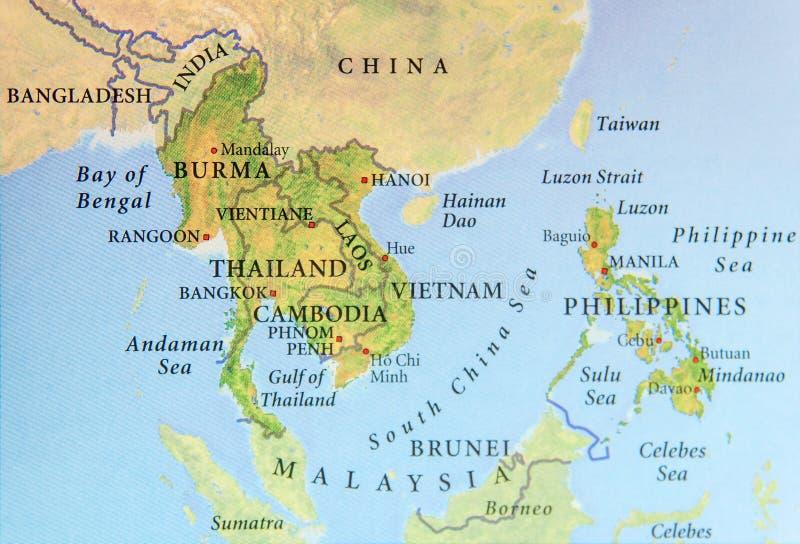 缅甸、泰国、柬埔寨、越南和菲律宾地理地图有重要城市的 免版税库存图片