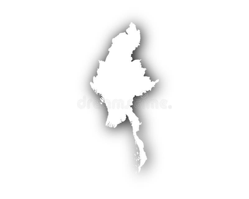 缅甸地图与阴影的 向量例证