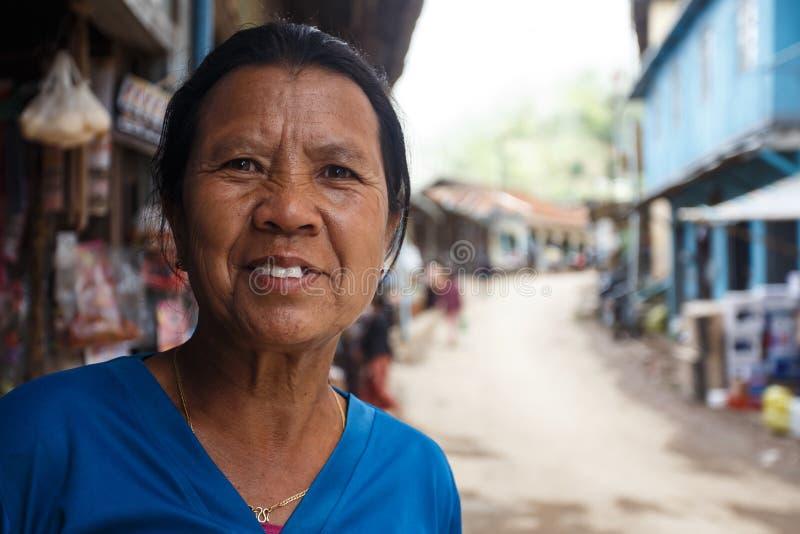 缅甸夫人在Falam,缅甸(缅甸) 免版税图库摄影