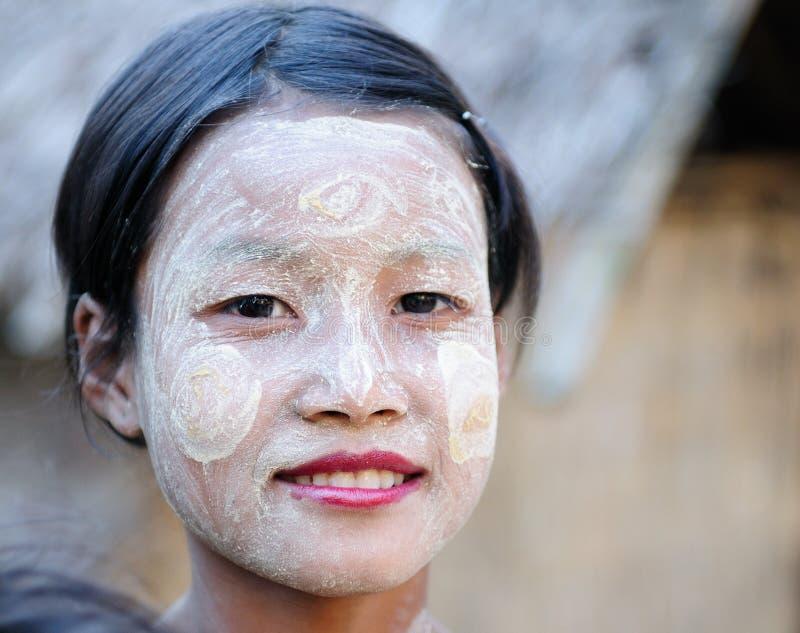 缅甸妇女的画象 库存图片