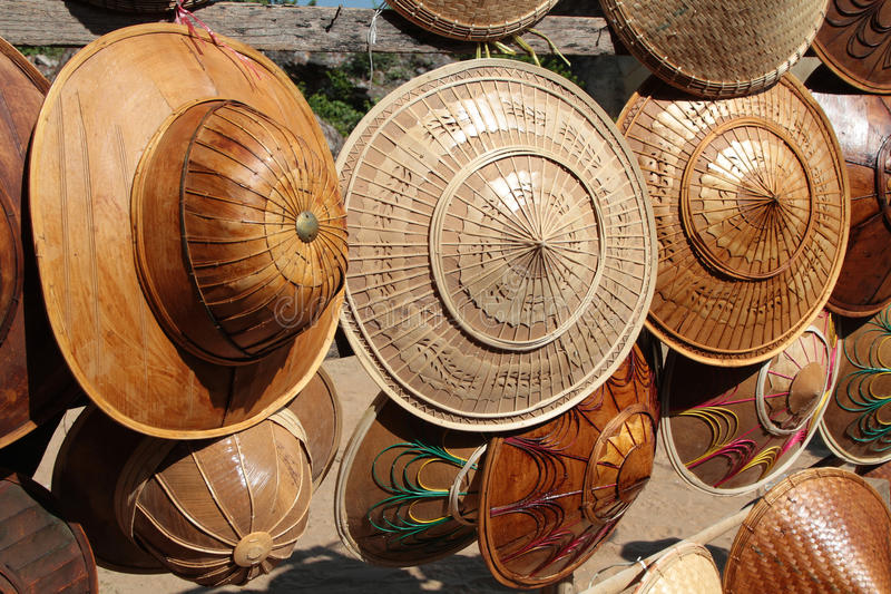 缅甸帽子待售 免版税图库摄影