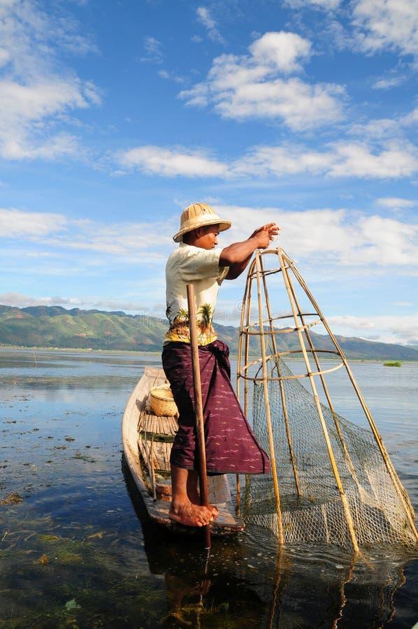 缅甸捕鱼 图库摄影