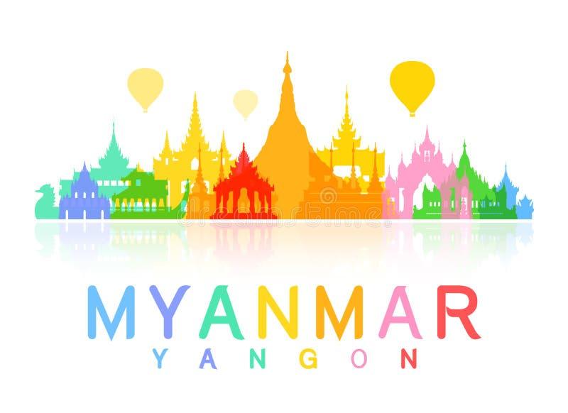 缅甸旅行地标 向量例证