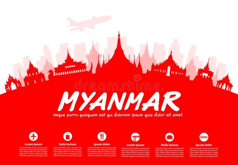 缅甸旅行地标 皇族释放例证