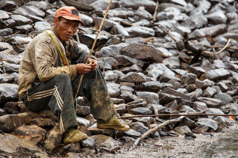 缅甸渔夫在钦邦 图库摄影