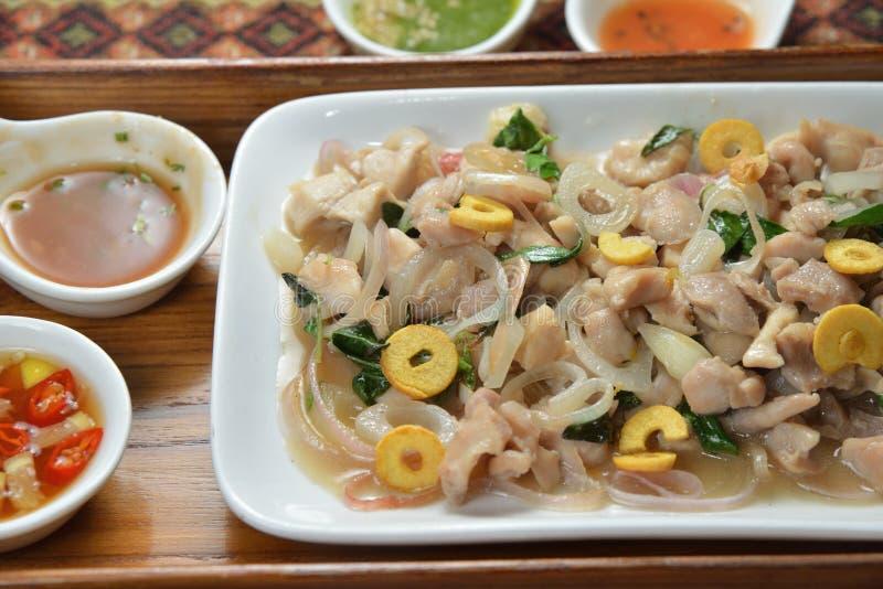 缅甸烹调浅油煎的猪肉 库存照片
