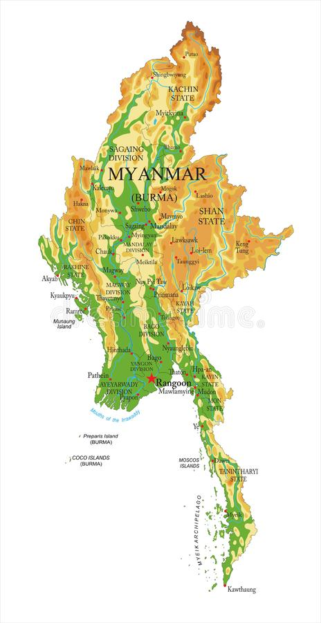缅甸物理地图 库存例证