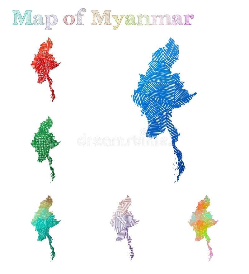 缅甸的手拉的地图 库存例证