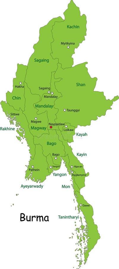 缅甸的映射 库存例证