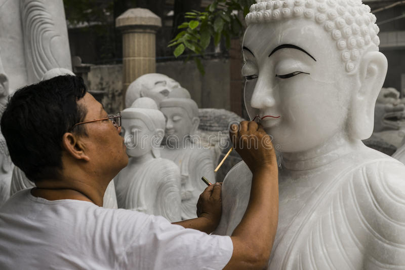 缅甸的雕刻家 库存照片