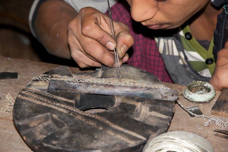 缅甸银器匠 图库摄影