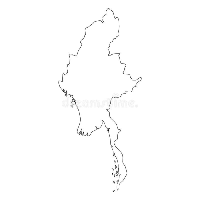 缅甸,缅甸-国家区域坚实黑概述边界地图  简单的平的传染媒介例证 库存例证