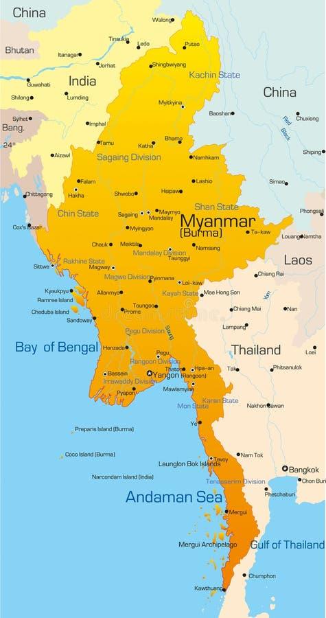 缅甸 向量例证