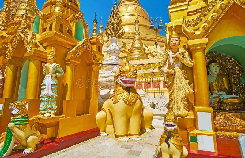 缅甸nat雕象在Shwedagon,仰光,缅甸 免版税库存照片