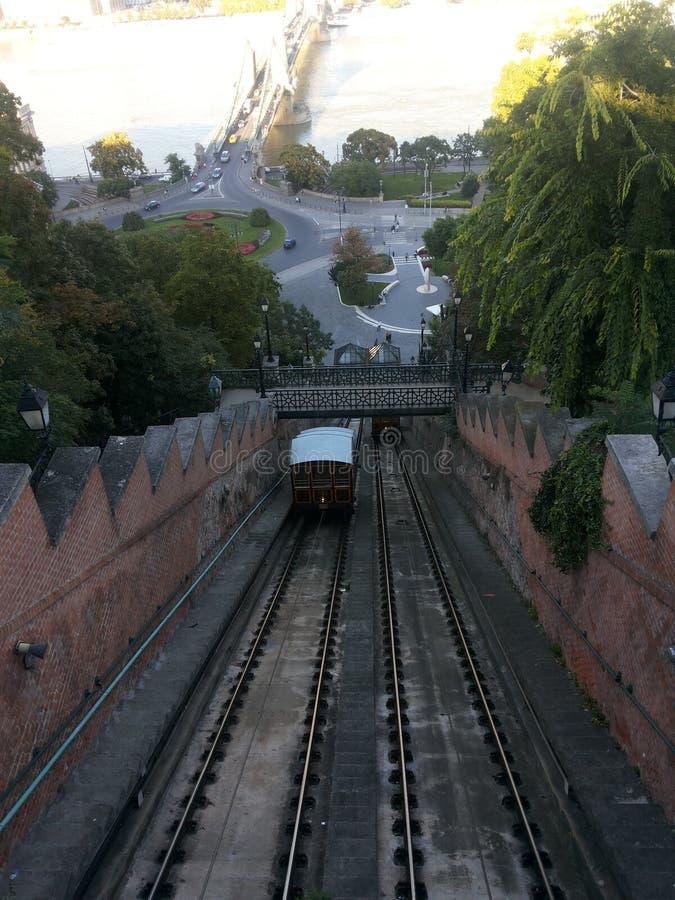 缆索铁路在布达佩斯 免版税图库摄影
