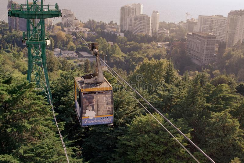 缆索铁路在索契树木园 免版税图库摄影