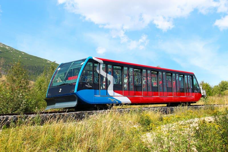 缆索铁路在高Tatras,斯洛伐克 免版税图库摄影