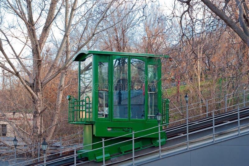 缆索铁路的汽车在Odesa,乌克兰 库存照片