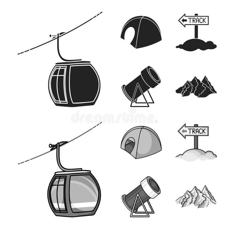 缆索铁路,帐篷,路标,雪大炮 在黑色的滑雪胜地集合汇集象, monochrom样式传染媒介标志股票 库存例证