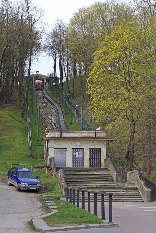 缆索铁路Aleksotas在考纳斯,立陶宛 库存照片