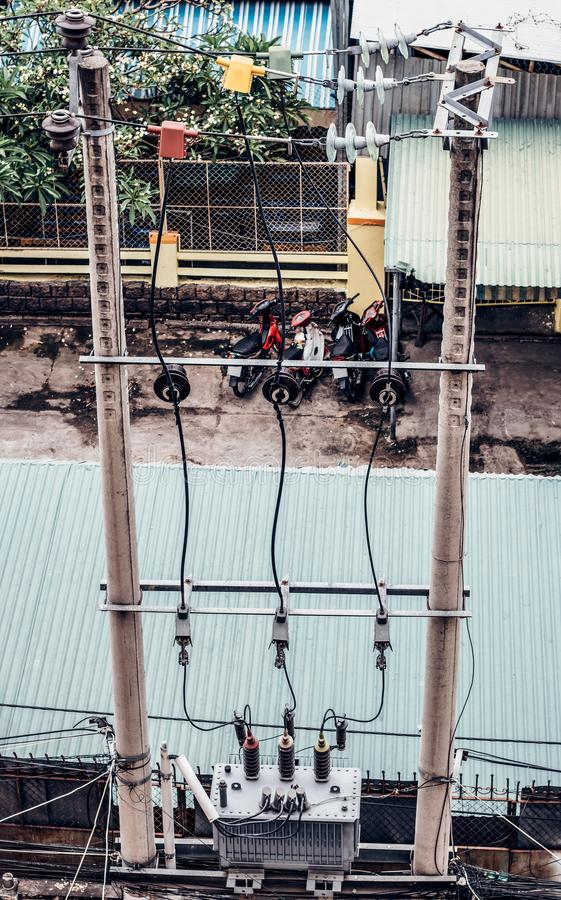 缆绳减少变压器 库存图片