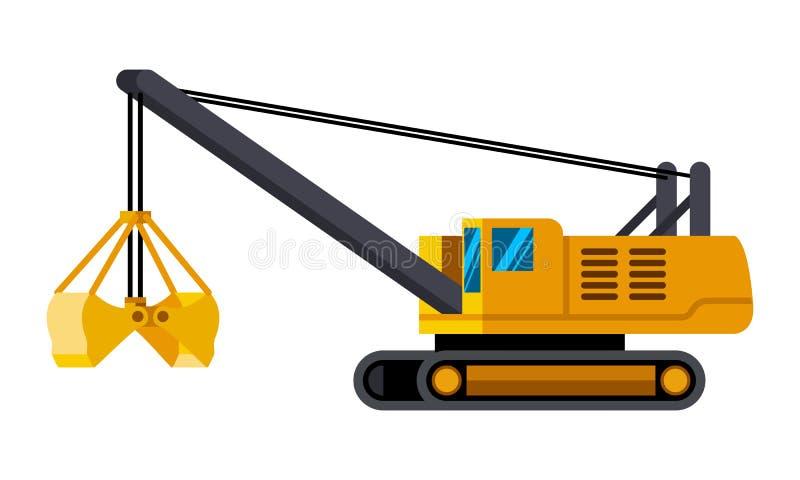 缆绳蛤壳状机件桶挖掘机minimalistic象 库存例证