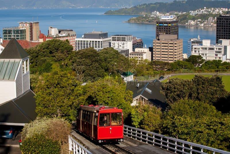 缆车在惠灵顿,新西兰 图库摄影