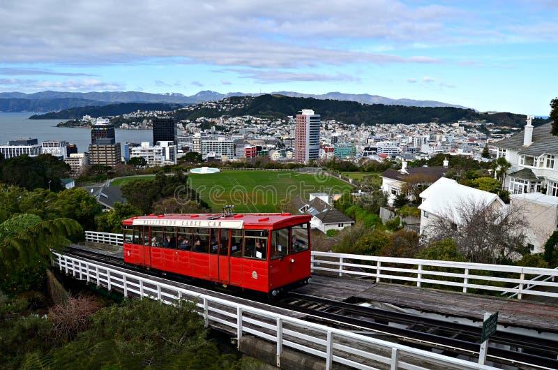 缆车在惠灵顿,新西兰 免版税库存照片