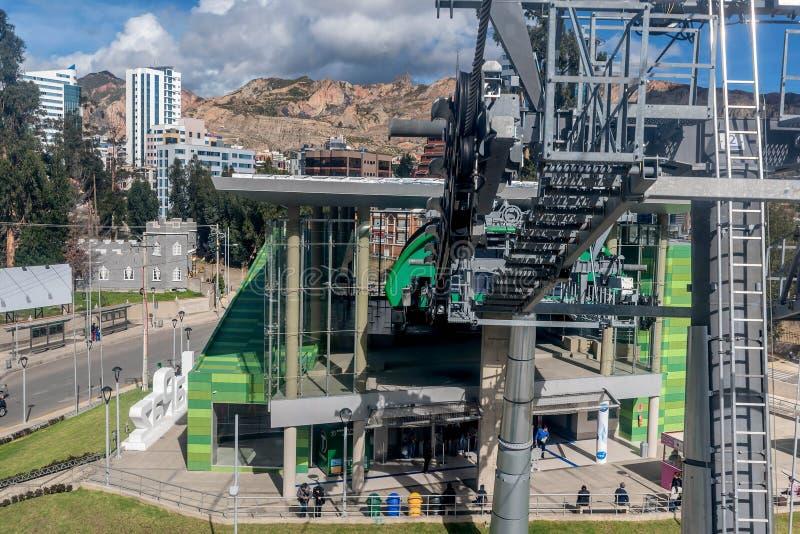 缆车在拉巴斯,玻利维亚 库存照片
