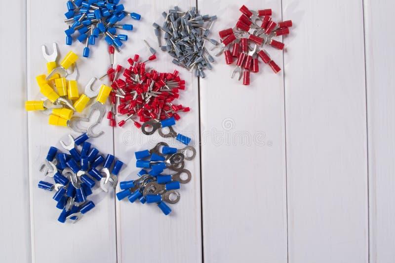 缆绳把手用不同的颜色和大小 库存图片