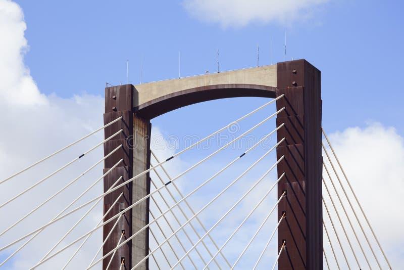 缆绳被停留的桥梁细节 免版税库存照片