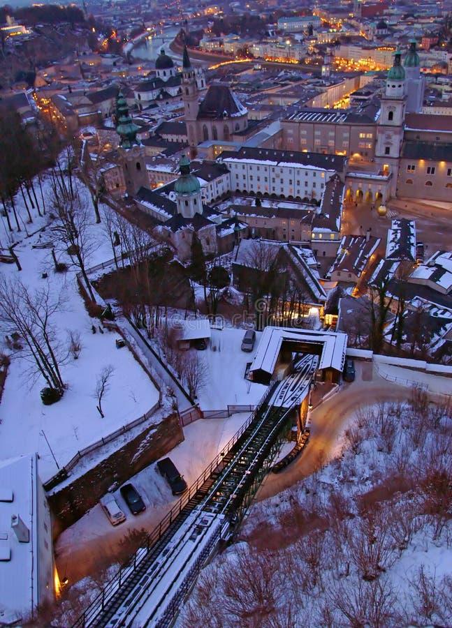 缆索铁路和萨尔茨堡看法从Hohensalzburg城堡的 图库摄影