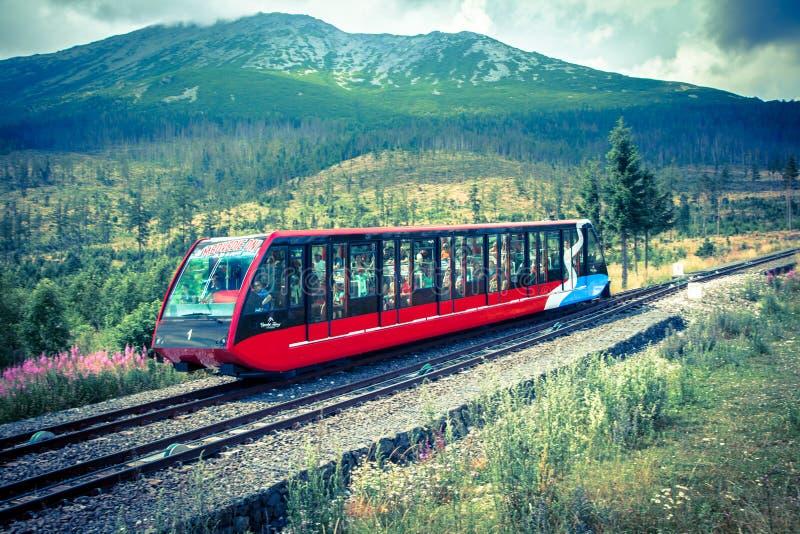 缆索铁路在高Tatras,斯洛伐克 库存照片
