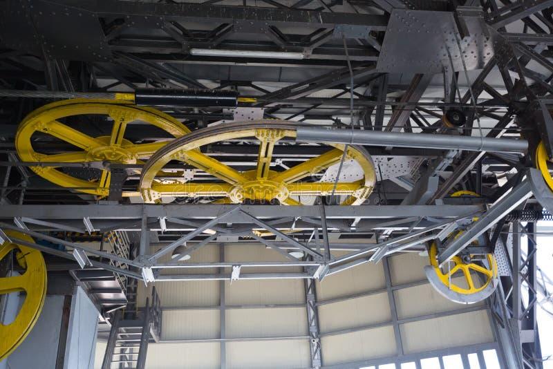 缆索铁路的空中览绳机制 库存照片